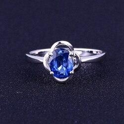 Estated Genuine Blue Sapphire Solid 14K White Gold Engagement Gemstone Ring Women Wedding Ring