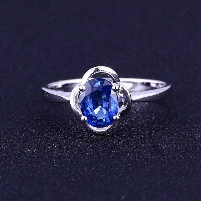 407a2d1c63f3 Estated genuino zafiro azul sólido 14 K oro blanco compromiso Gemstone  anillo mujeres anillo de bodas