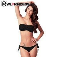 Sexy Bandeau Bikinis Women Top Swimsuit Soild Nylon Low Waist Push Up Swimwear Body Suit Swimsuits
