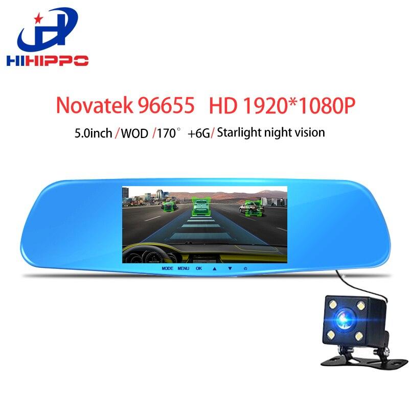 HIHIPPO car dvr mirror dash font b camera b font Novatek 96655 dush cam video recorder