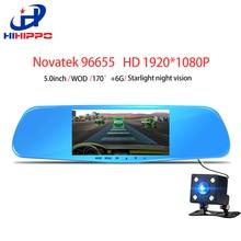 HIHIPPO espejo dvr coche dash cámara Novatek 96655 dush cam video recorder 5 pulgadas Full HD 1080 P de la cámara del coche retrovisor