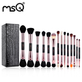 Msq chegada nova 14 pcs rose gold double ended makeup brushes set professional cosméticos make up brushes ferramenta de beleza