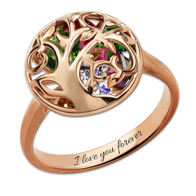 AILIN Mother Birthstone Ring Engraved Cage Ring Personalized Rose Gold Color Family Tree Ring Gift faux gem geometric engraved insect ring