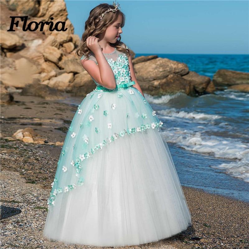 Vestidos daminha Princess Green   Flower     Girl     Dresses   For Weddings Beads Kids Evening Gown First Communion   Dresses   For   Girls