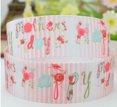 2015 Top Fashion Mother's Day Ribbon 78 Mother's Day SymbolPrinted Grosgrain Ribbon 100yards
