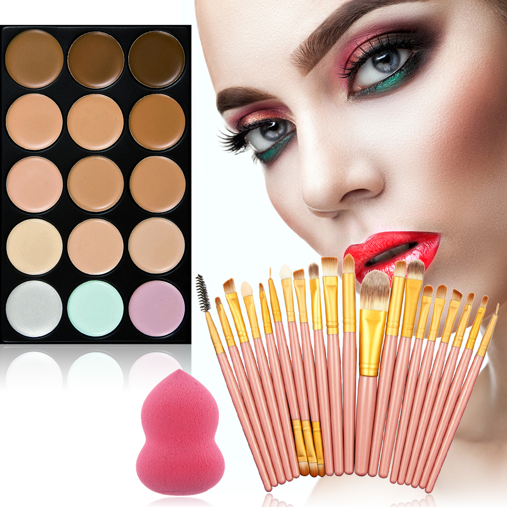 face15 Colors Cream Makeup Concealer Palette + 1hot pink Sponge Puff +20Pcs Powder Brushes kits 8colors to choose new arrival 15 color concealer palette sponge puff 24 pcs cosmetic makeup brushes set professional beauty essentials 8 17