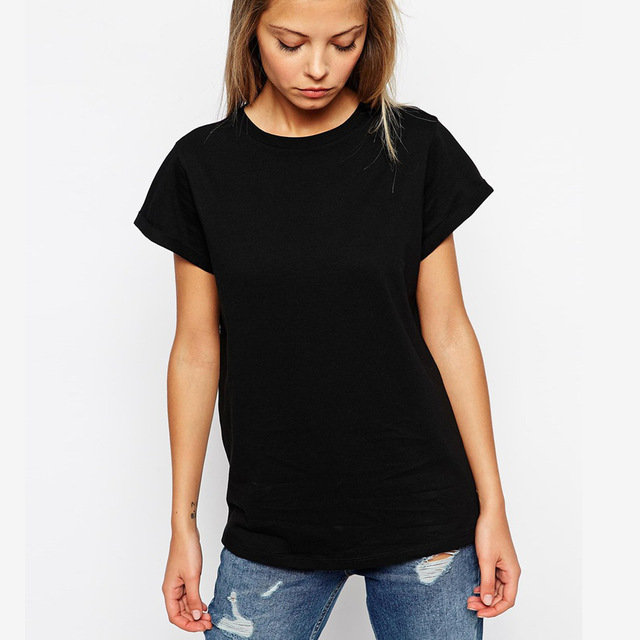 EnjoytheSpirit Women's Fashion Plain Black T shirt Round Neck 100 ...