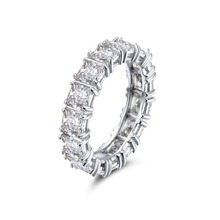 925 Sterling SILVER PAVE SETTING FULL SQUARE Diamant CZ ETERNITY BAND ENGAGEMENT WEDDING Stone Rings Size 6,7 Fine Jewelry helon half eternity band women s fine jewelry solid 10k rose gold pave natural diamonds engagement wedding eternity fine ring