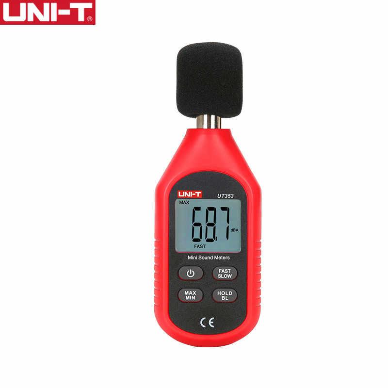 UNI-T ut353 instrumento de medição de ruído, decibelímetro de 30-130db mini medidor de nível sonoro, monitor de decibéis