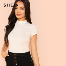 bdafe33f55 SHEIN Modern Lady Weekend Casual Rib Knit Crop Round Neck Slim Fit Long  Sleeve Pullovers T