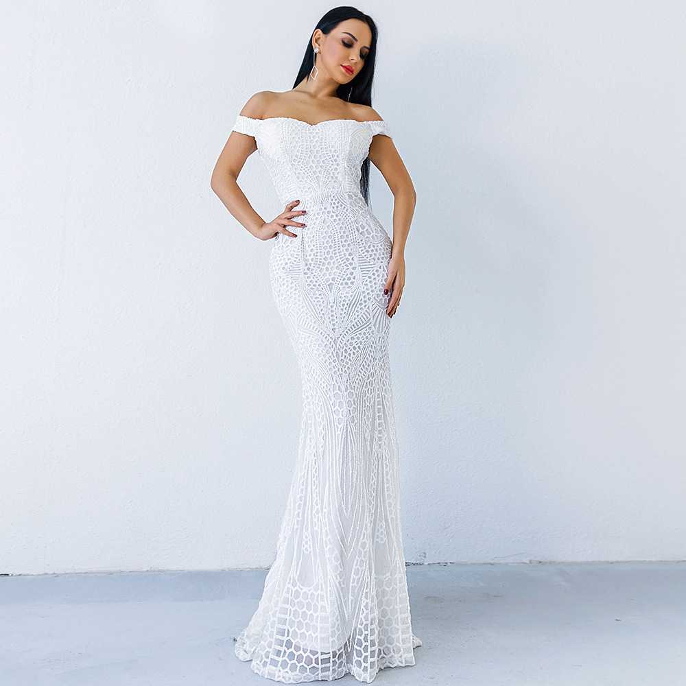 3885ced8af3f Sexy Elegante Con Di Corpo Un Paillettes Festa Della Al Delle Famoso Donne  Vestito Backless Largo