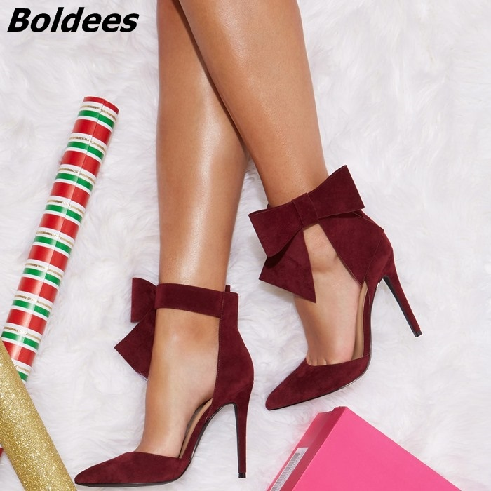 Classy Burgundy Suede Butterfly-knot Heels Women Sweet Bowknot Decorated Pointy Stiletto Heel Pumps Fashion Street Shoot Shoes rhinestone decorated stiletto heels