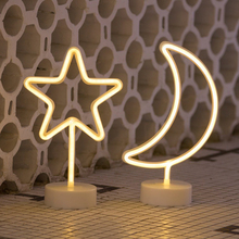Flamingo/Cactus/Moon/Lightning Neon Signs LED Light with Holder for Party Supplies Removable Home Decoration Lamp for Kids Room