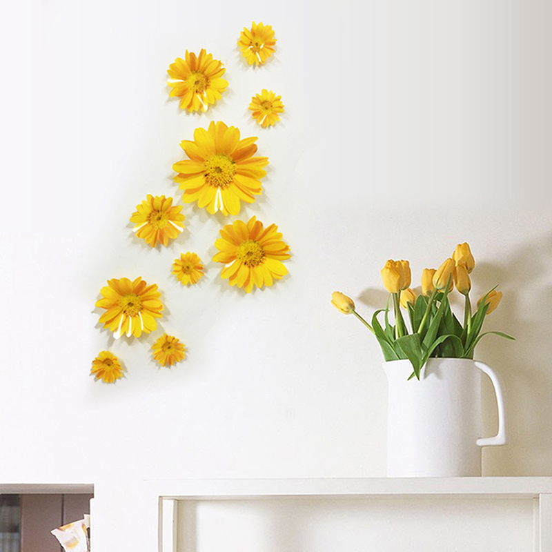 10 Pcs/Set Daisy Flower Living Room Vinyl 3D Wall Stickers Window ...