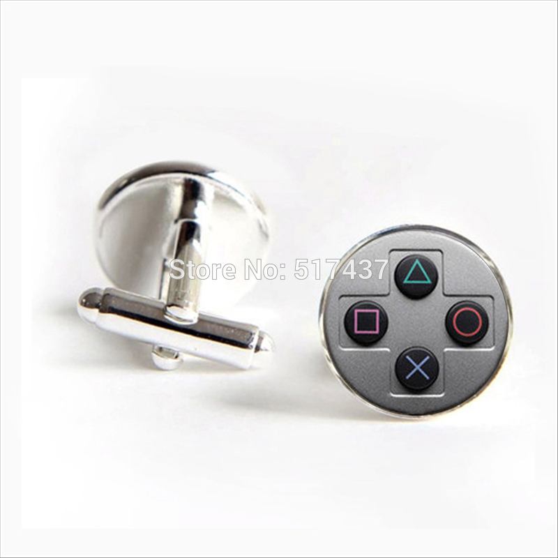 2017 Wholesale Game Controller Cufflinks Gamepad Keys Cuff Link Silver Black Round Cufflinks