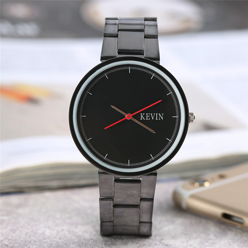 KEVIN Mens Sport Fashion Quartz Watch White/Black Dial Minimalist Stylish Simple Stainless Steel Wrist Watch relogio masculino