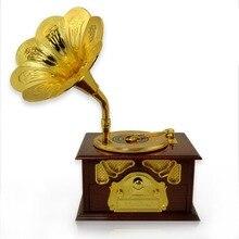 Gramophone Shaped Music Box Classic Vintage Birthday Gift Hand Crank Type Music Box Movement DIY Romantic Christmas Present