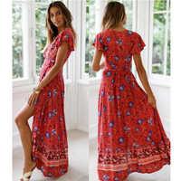 c0032d1a739 Повседневное богемные женские летние платье 2019 пляж Макси платья Винтаж  Длинные платья Вечерние с цветочным принтом