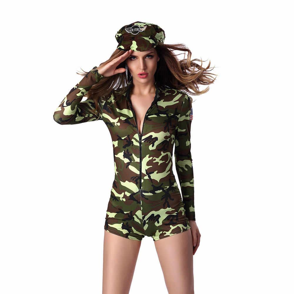 М-XL Сексуальная взрослый Для женщин военную форму костюма на Хэллоуин пикантные вечерние костюмы солдата Для женщин Камуфляж Цвет боди