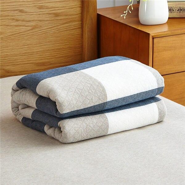 Мягкое Стёганое одеяло в японском стиле, хлопковое покрывало, одеяло для одиночной/двойной кровати, натуральное хлопковое летнее одеяло - Цвет: Blue