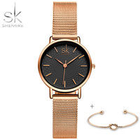 Shengke 2017 New Fashion Women Watches High Quality Ultra Thin Quartz Watch Woman Elegant Dress Ladies