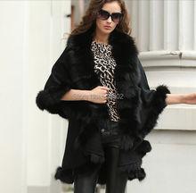 Wamen's Sophisticated/Genuine Fox Fur burrs Stretch fabric Coat Cloak Poncho/shawl//cloak /Coat/cape/ black