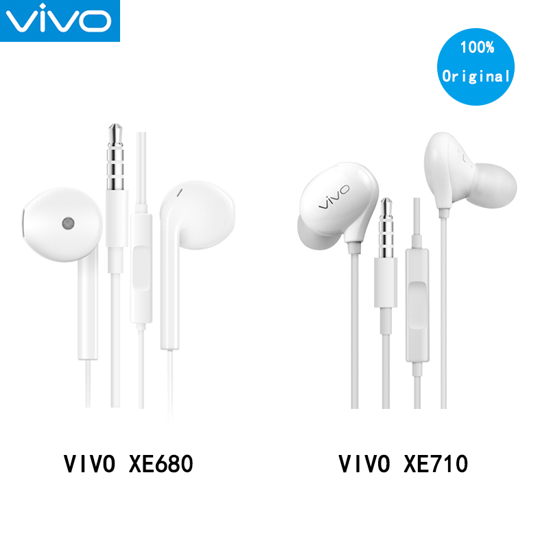 New VIVO Earphone With Microphone 3.5mm Plug Wired Control Headsets In-Ear Style For VIVO X9plus X20 X21 X23 Nex XE710/XE680