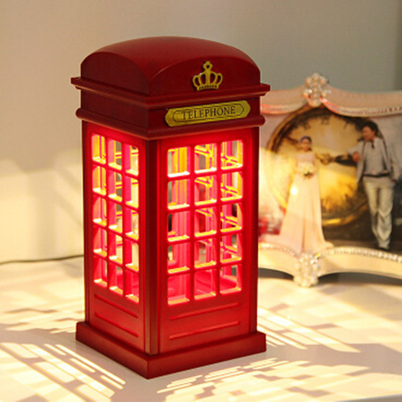 Retro London Phone Booth Design LED Touch Night Light USB Rechargeable Touch Sensor Decorative Night Light Table Lamp