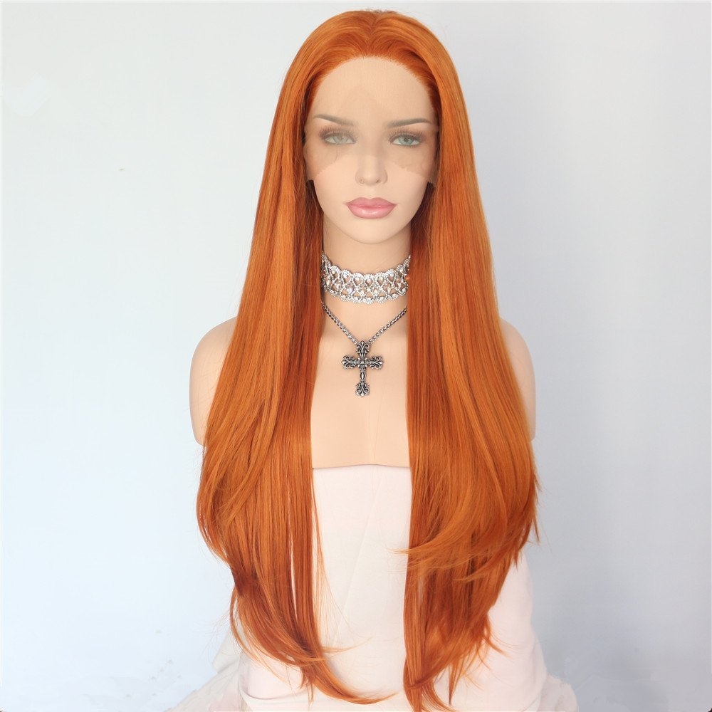 Free Shipping synthetic lace front wig orange color Heat resistant hair high density hand tied layered front lace party wig invisible bra