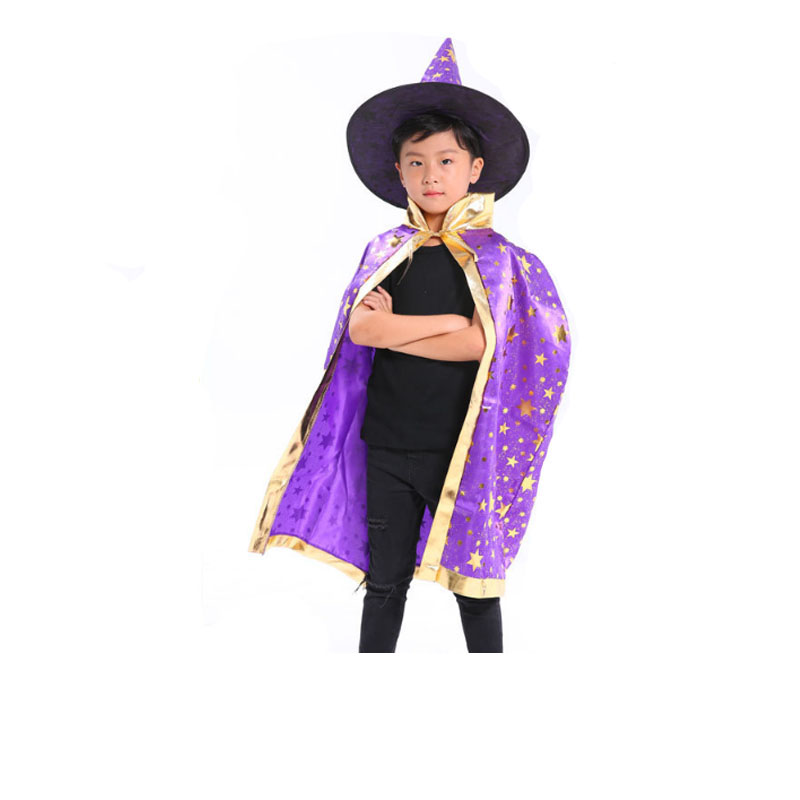 Robe Cape de magicien pour enfants chapeau de sorcière fantaisie motif étoile mascarade Cosplay Festival fête de l'école noël Halloween