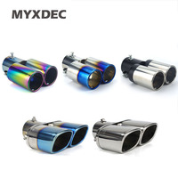 Universal Car Auto Round Exhaust Muffler Tip Stainless Steel 1 To 2 Dual Pipe Chrome Trim