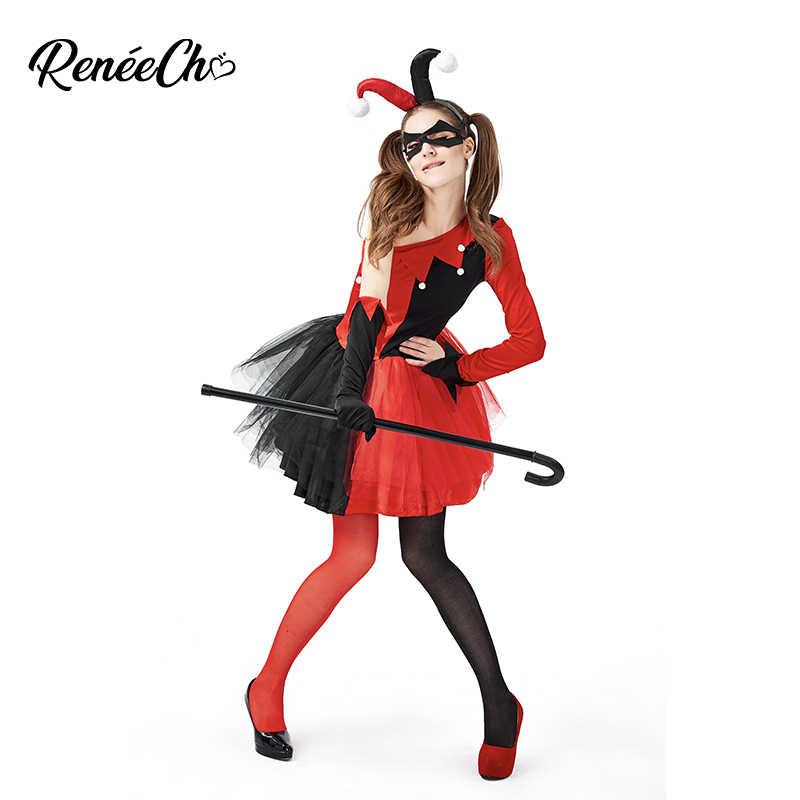 Reneecho ฮาโลวีนเครื่องแต่งกายสำหรับผู้ใหญ่ผู้หญิง Evil Jester เครื่องแต่งกายหญิง Clown COSPLAY Tutu แฟนซีชุดปาร์ตี้สำหรับ Carnival