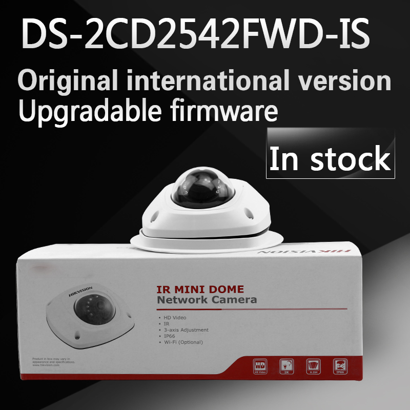 in stock free shipping  english version DS-2CD2542FWD-IS Audio 4MP WDR Mini Dome Network Camera free shipping in stock new arrival english version ds 2cd2142fwd iws 4mp wdr fixed dome with wifi network camera