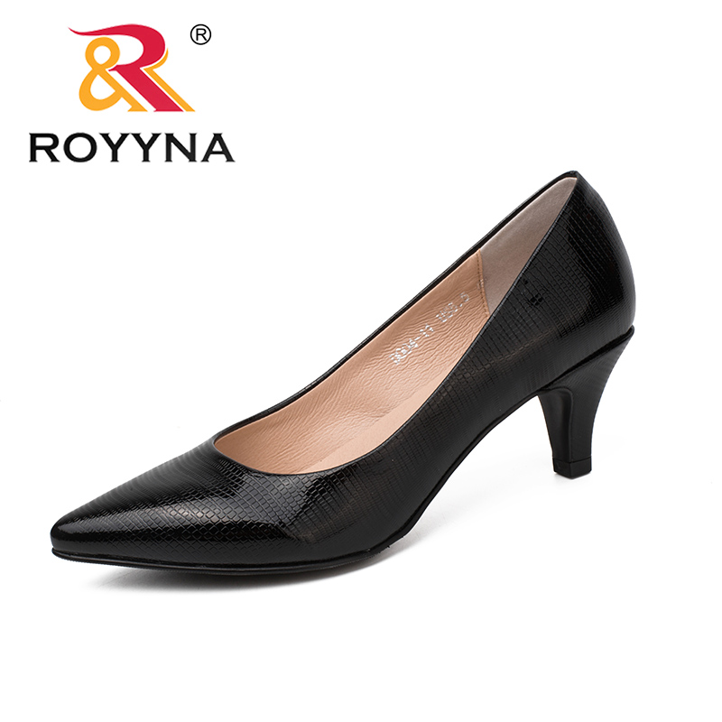 цена ROYYNA New Style Women Pumps Slip-On Women Shoes Pointed Toe Lady Shoes Thin Heels Women Wedding Shoes Light Fast Free Shipping