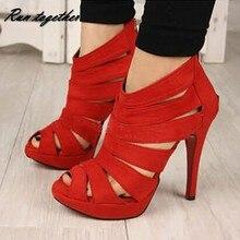 ฤดูร้อนตัดลึกหนาบางg ladiatorผู้หญิงปั๊มp eep toeรองเท้าส้นสูงรองเท้าแตะรองเท้าแต่งงานของบุคคลหญิงส้นรองเท้าซิป
