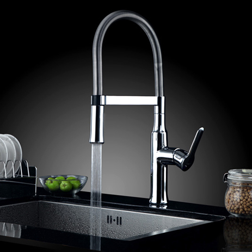 Free shipping Pull Down Spring Kitchen Faucet Hot and Cold Chrome brass Water Tap Mixer Sink