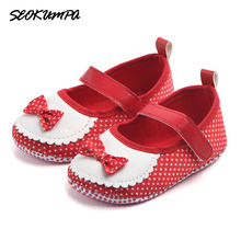 Newborn Baby Girls Shoes Princess Cute Bow First Walkers Crib Bebe Soft Soled Anti-Slip Baby First Walking Shoes