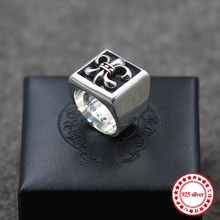 ФОТО s925 sterling silver men's ring vintage personality domineering anchor pierced couple fashion punk style jewelry to send a gift