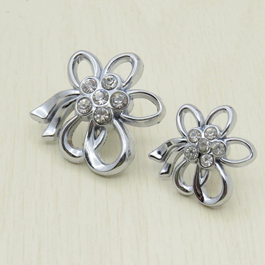 Creative Fashion Glass Crystal Flower Drawer Shoe Cabinet Knobs Handles Rhinestone Silver Chrome Dresser Kitchen Cabinet