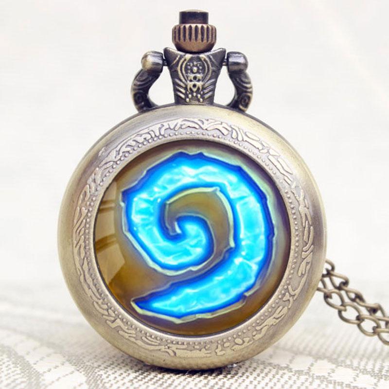 Gorąca gra WoW World of Warcraft Hearthstone Theme szklana kopuła Case kwarcowy zegarek kieszonkowy na łańcuszku naszyjnik