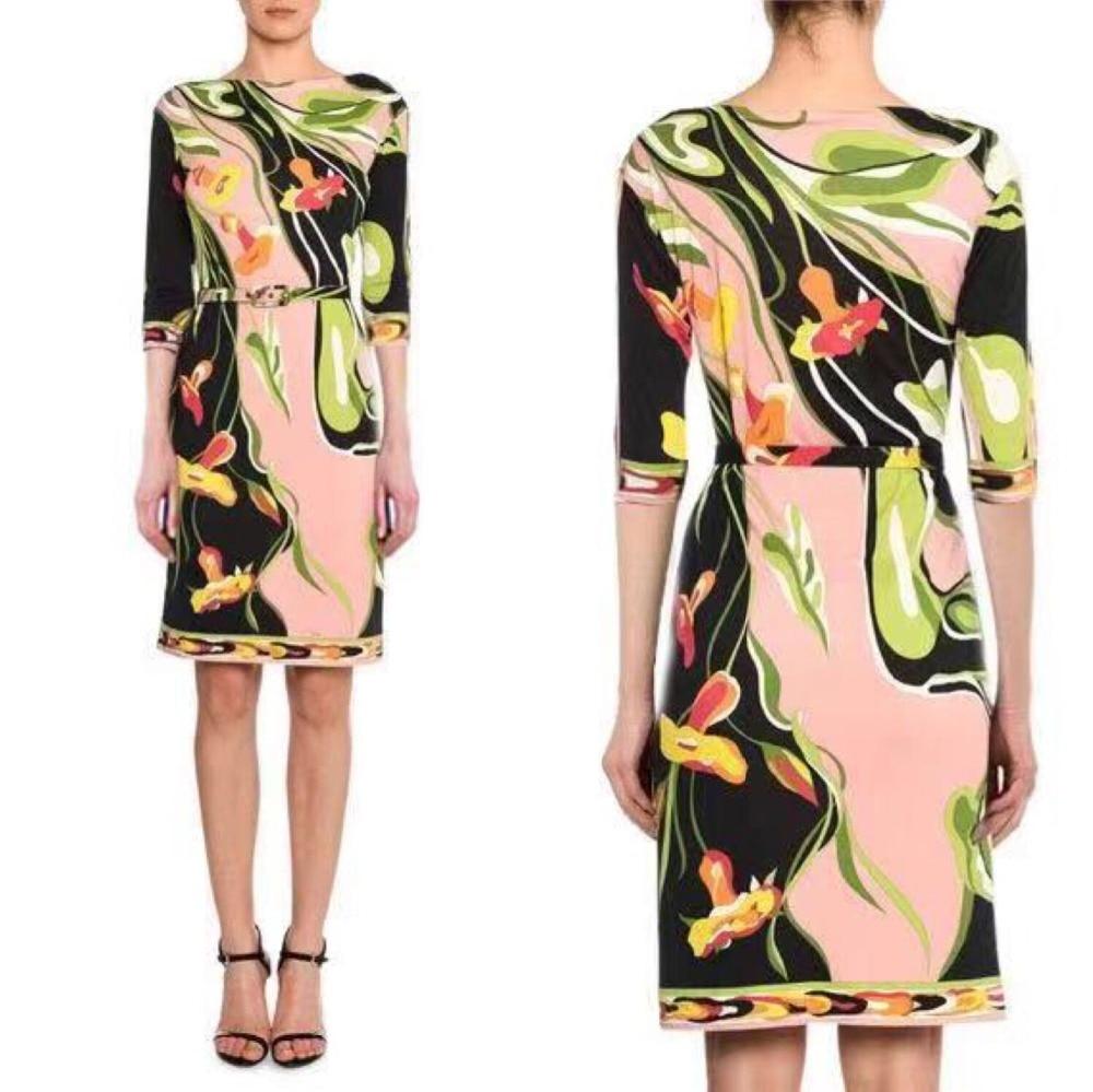 도시 여성 패션 새로운 무료 벨트 아름다운 인쇄 라운드 칼라 실크 저지 스트레치 드레스-에서드레스부터 여성 의류 의  그룹 1