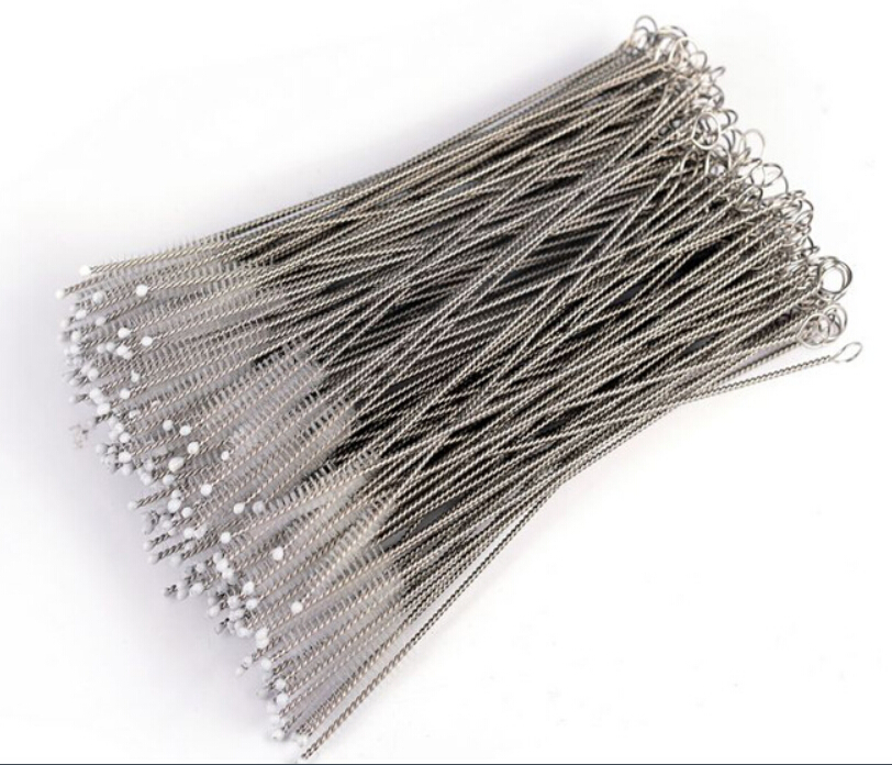 300PCS Drinking Stainless Steel Straw Brush Metal Reusable Cocktail Drinking Straw Cleaner Brushes Nylon Brush For