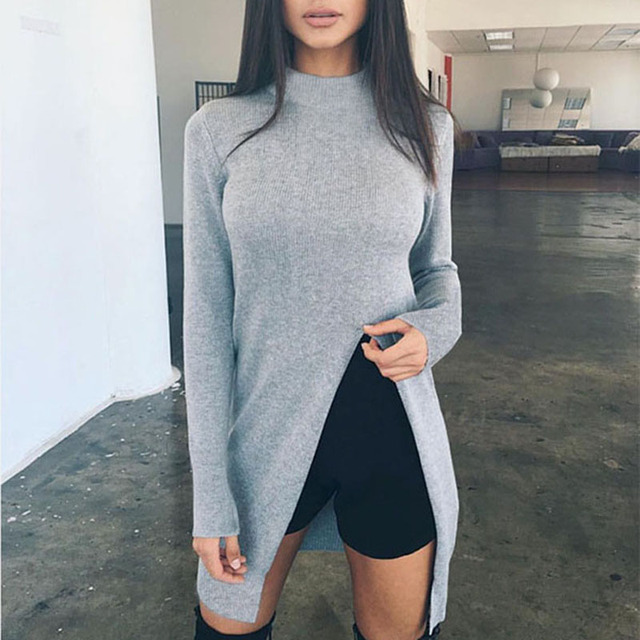 93885374d Roupas Da Moda outono Mulheres Longas Pullovers Blusas de Manga Longa Gola  Frente Cortar Camisola Slim