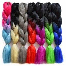 Feilimei High Temperature Fiber Jumbo Braids 24Inch Ombre Gray Pink Braiding Hair Bulk Bundles Synthetic Crochet Hair Extensions