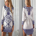 2016 Chinese National Style Blue And White Porcelain Pattern Women Elegant Dresses Long Sleeve Summer Girls Casual Dresses C578