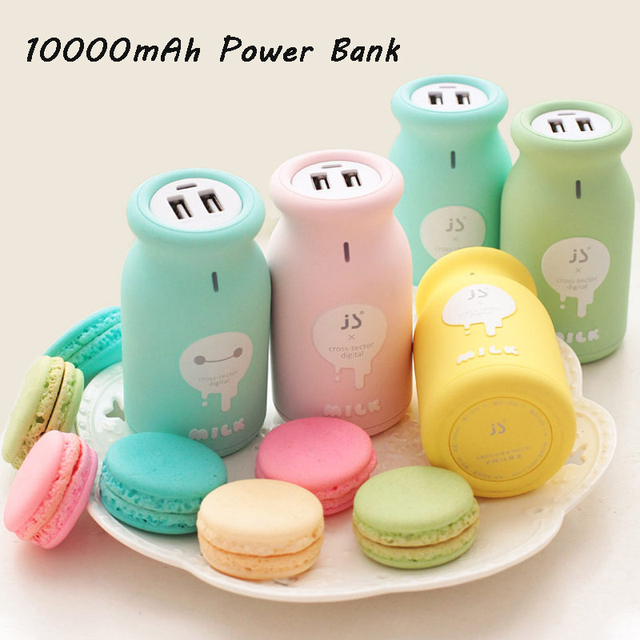 SA15 JS Mini Leite Bonito Power Bank 10000 mAh Bateria Externa Backup Carregador Universal Dupla USB Presente de Aniversário Para O Celular telefones