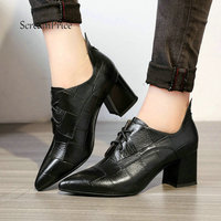 Woman Low Square Heel Lace Up Genuine Leather Pumps Fashion Pointed Toe Causal Shopping Ladies Shoes Black