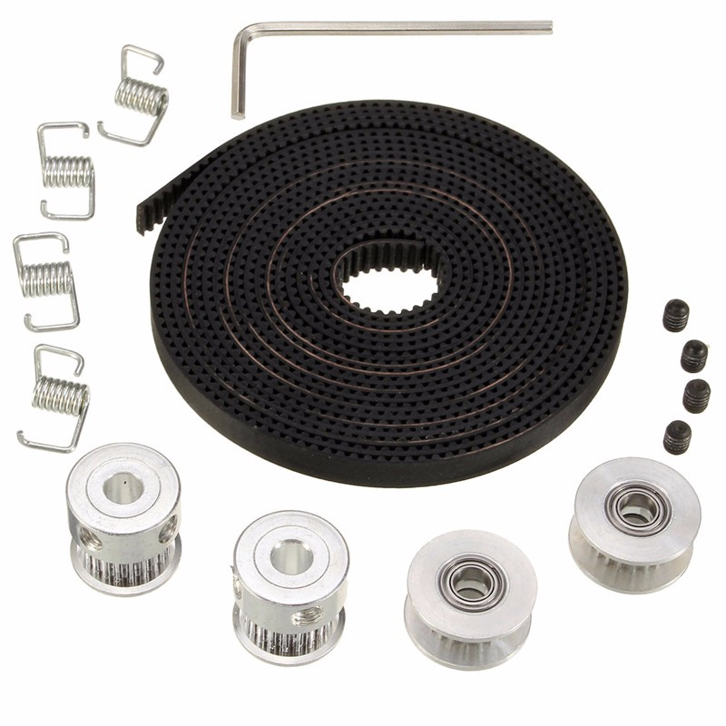 2X GT2 Pulley 20 Teeth Bore 5mm + 8ft 2.5m 2GT GT2 Timing Belt & 2X Idler 4X Tensioner for 3D printer RepRap 3D Printing Parts