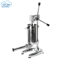 2L Manual Sausage Stuffer  Machine Commercial Maker Stainless Steel Filler With 4 Funnels kitchen Tool