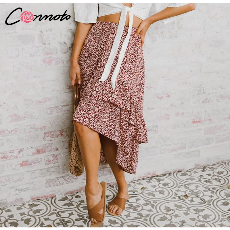 Conmoto 19 High Waist Flounce Beach Women Skirts Polka Dot Feminino Summer Skirts Ruffles Asymmetrical Elegant Midi Skirt 5